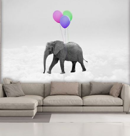 Photo wallpaper Elephant and Balloons